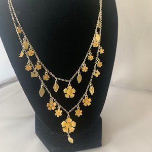 Avon double strand flower necklace yellow